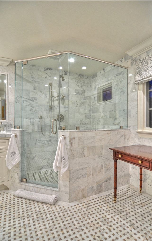 Half Wall Creates Privacy And Interest To This Shower