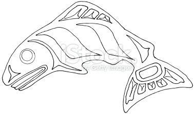 Pacific Northwest Coast Native Indian Salmon Basic Shape Larger