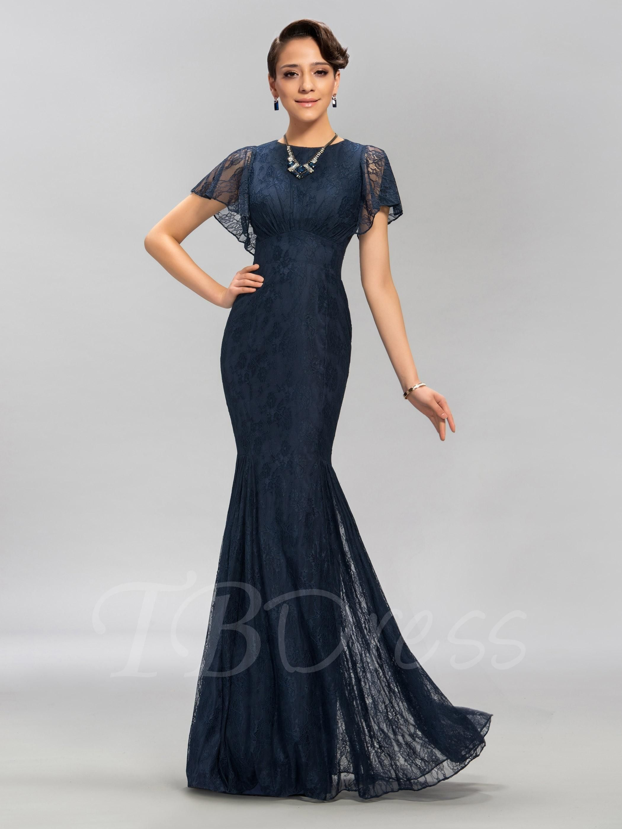 Tbdress tbdress lace scoop neck mermaid long evening dress