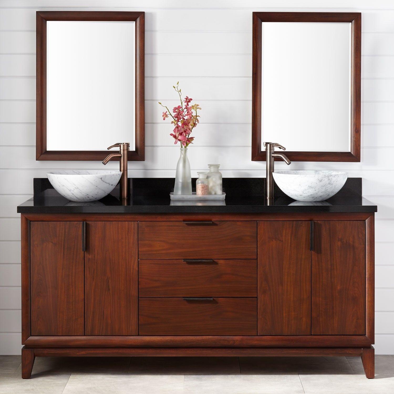 72 talyn mahogany vessel sink double vanity light