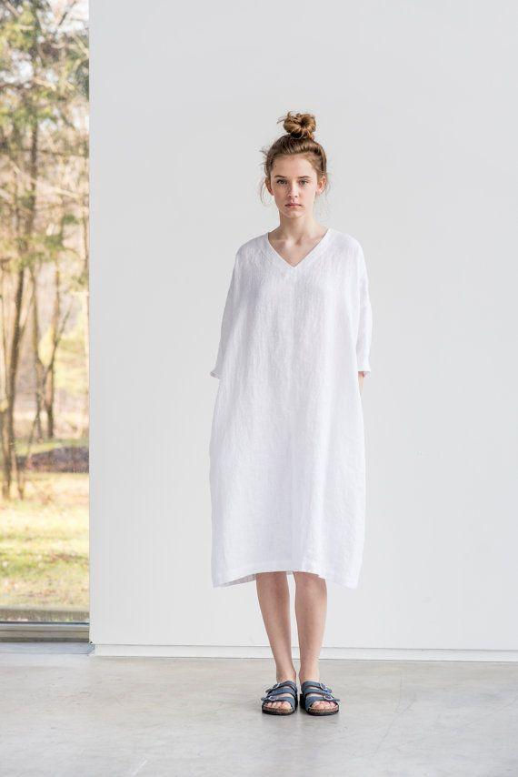 Uitgelezene Tuniek - jurk VALENCIA / White linnen tuniek-jurk / gewassen EO-32