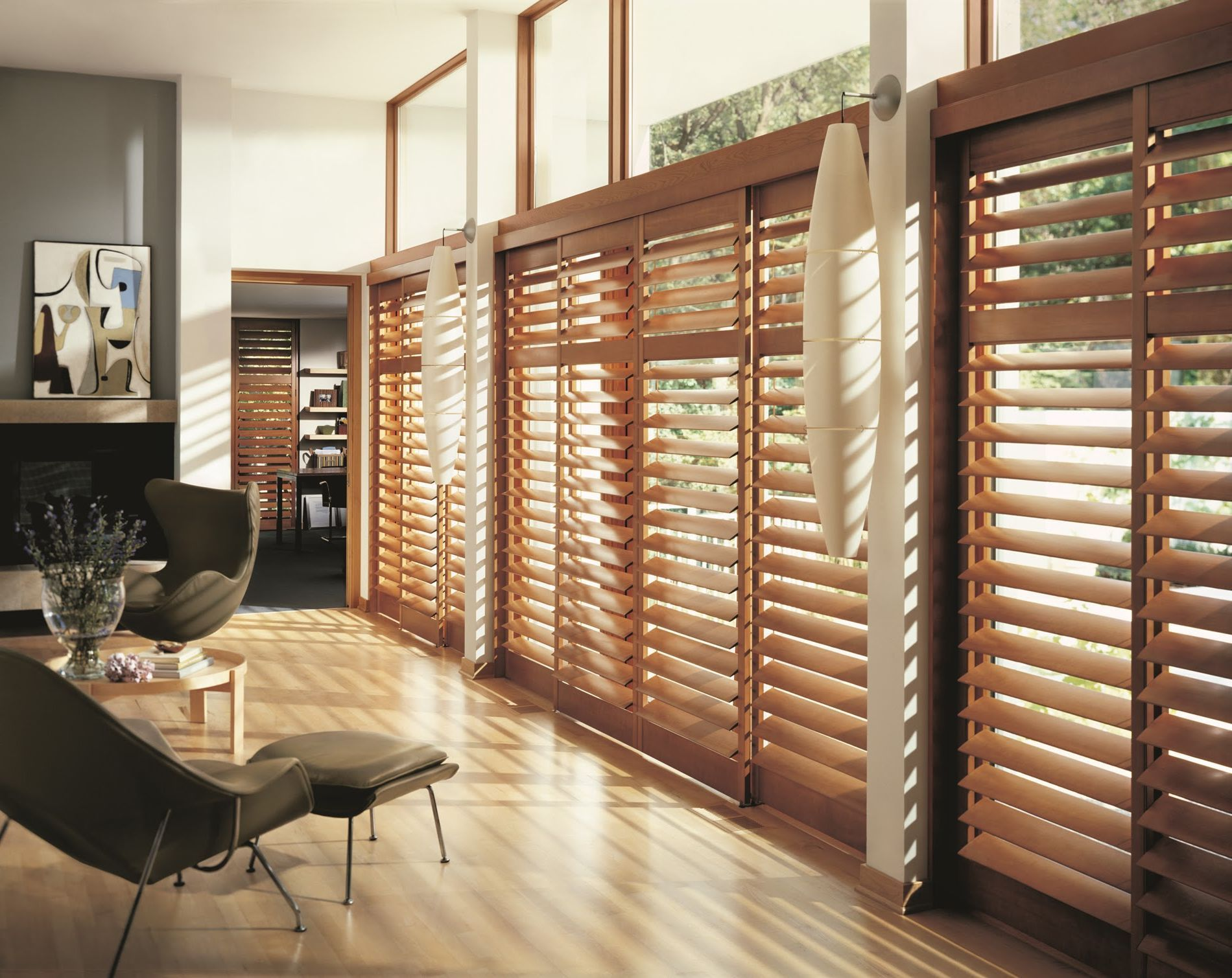 Interior exterior large varnished wooden patio doors with thermal