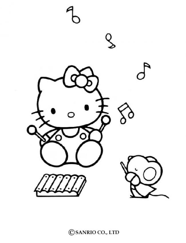 FREE Hello Kitty Musical Coloring Pagesmaybe Print Out And Bring Crayons To Party As Activity