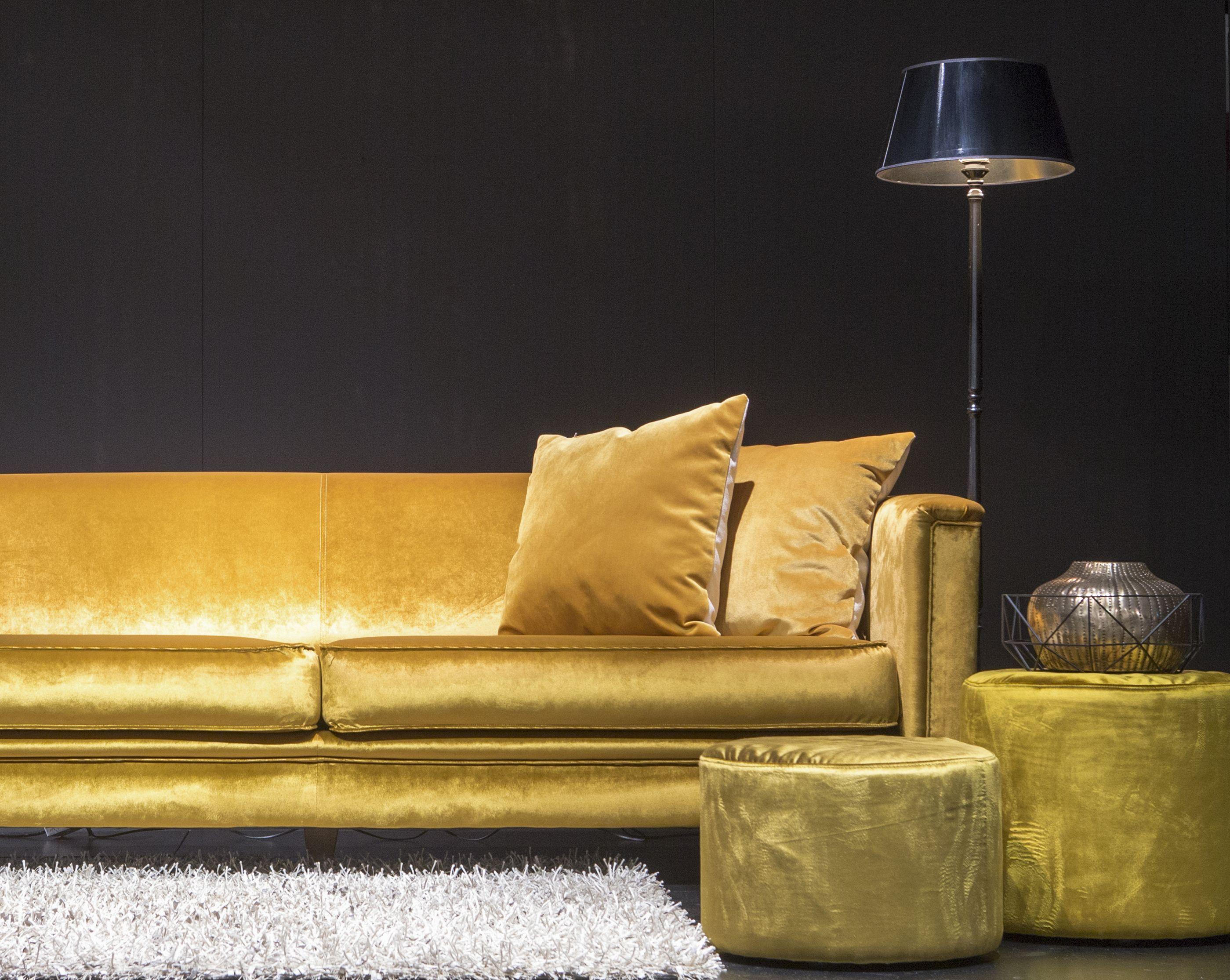 Sofa, bank, gold, goud, poef, velvet, interieur, interior ...