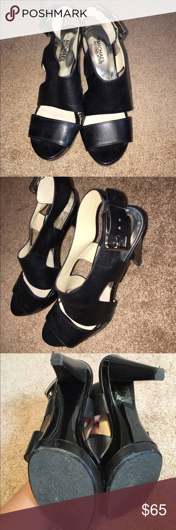 MICHAEL KORS HEELS MICHAEL KORS HEELS exact pair as the tan except in black. Only wore them 1 time. They are awesome. !!! 4 inch heel. With sole it's 4 1/2❤️❤️ Michael Kors Shoes