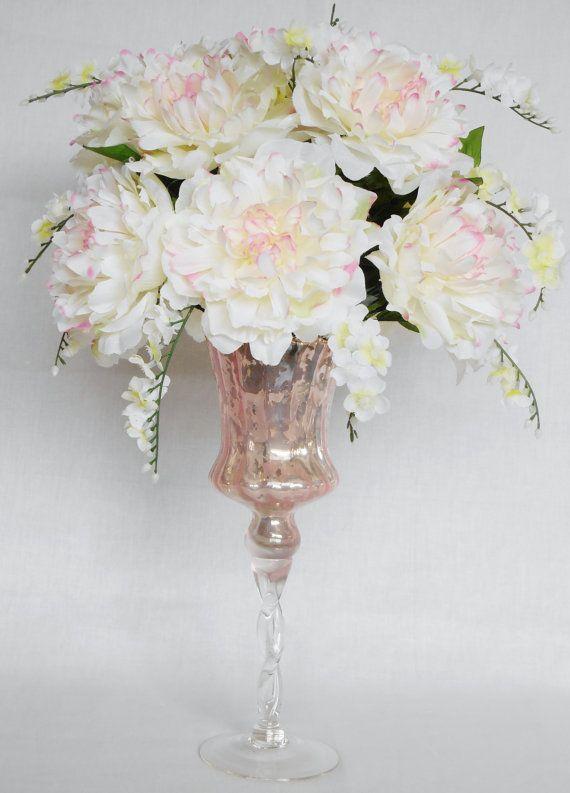 Silk Flower Arrangement White with Pink by BeautyEverlasting