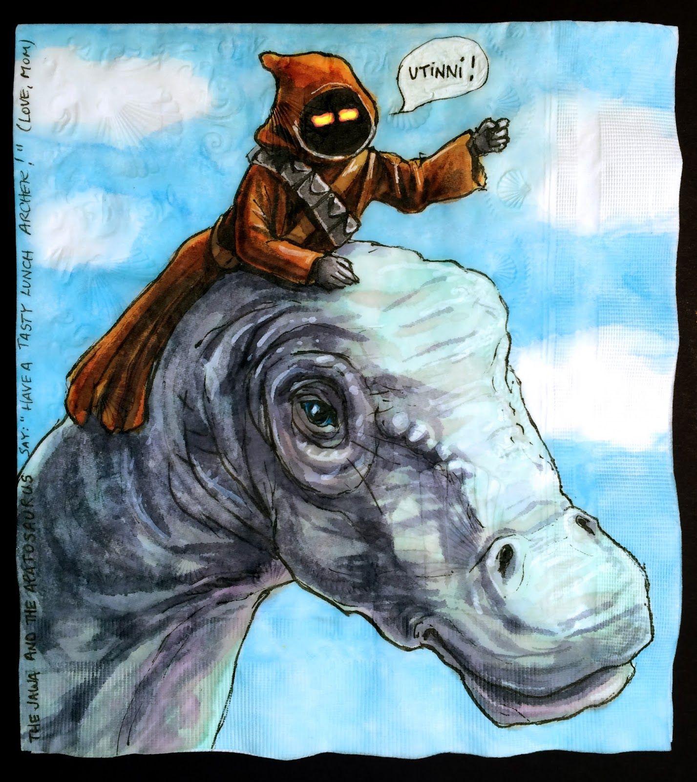 Star Wars Characters Ride Jurassic World Dinosaurs