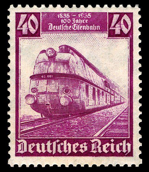 German engine on postage stamp 1935 583 Eisenbahn Sellos