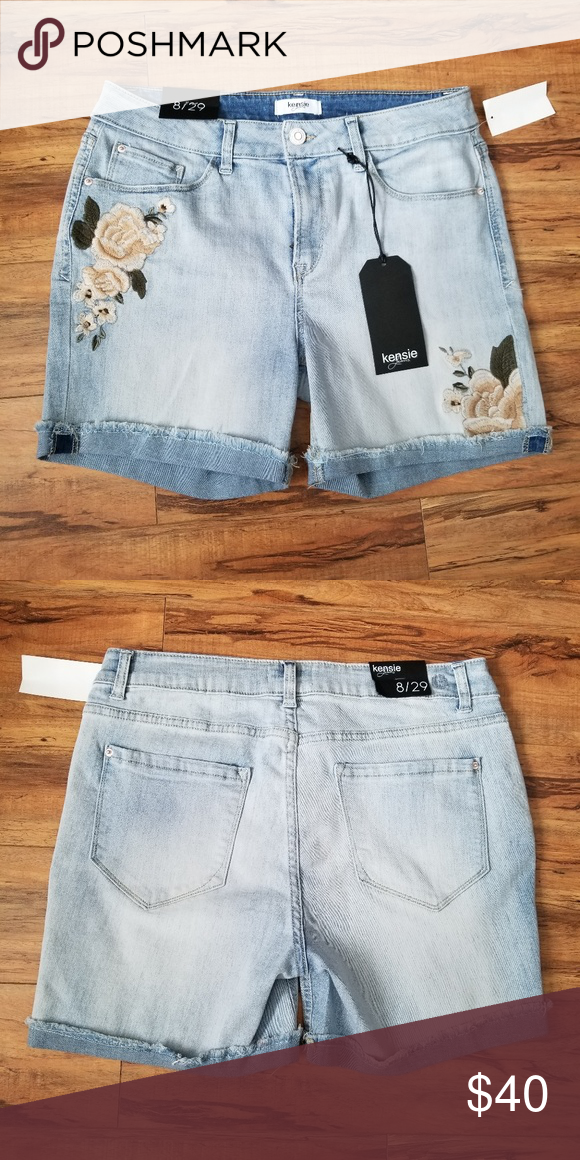 f077af95f0153 Kensie Jeans Embroidered Flower Denim Shorts Brand new never worn. Very  cute shorts Size 8/29 Length: 16