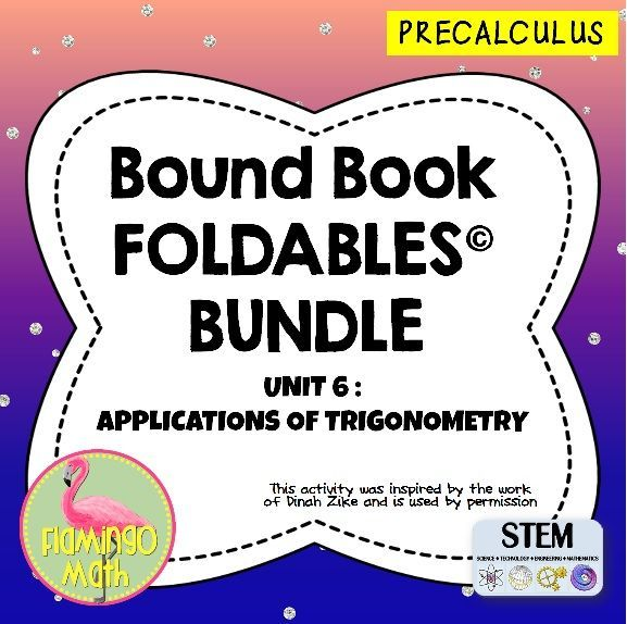 This is an eight-topic unit on APPLICATIONS OF TRIGONOMETRY for PreCalculus, Trigonometry, and College Algebra students. Each lesson is organized into an eight-page Dinah Zike Bound-Book style Foldable*, used with permission. A set of finished notes and directions for creating the Foldables* are also included.