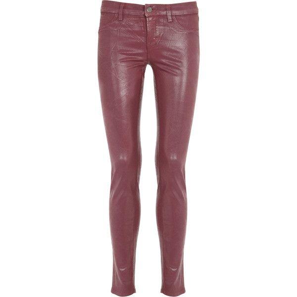 J brand super coated skinny jeans red