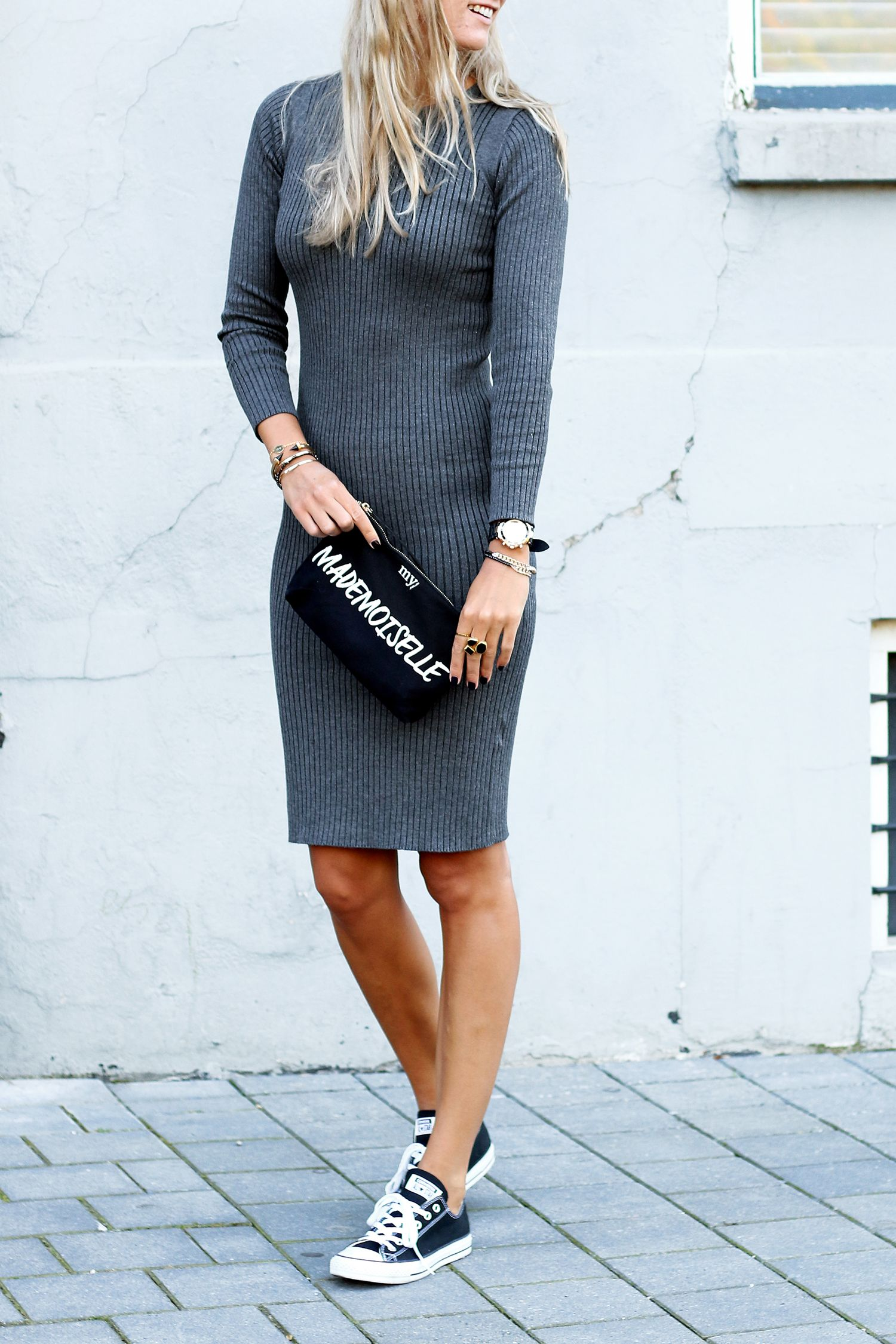 f0f262e07731 Knit dress with sneakers.