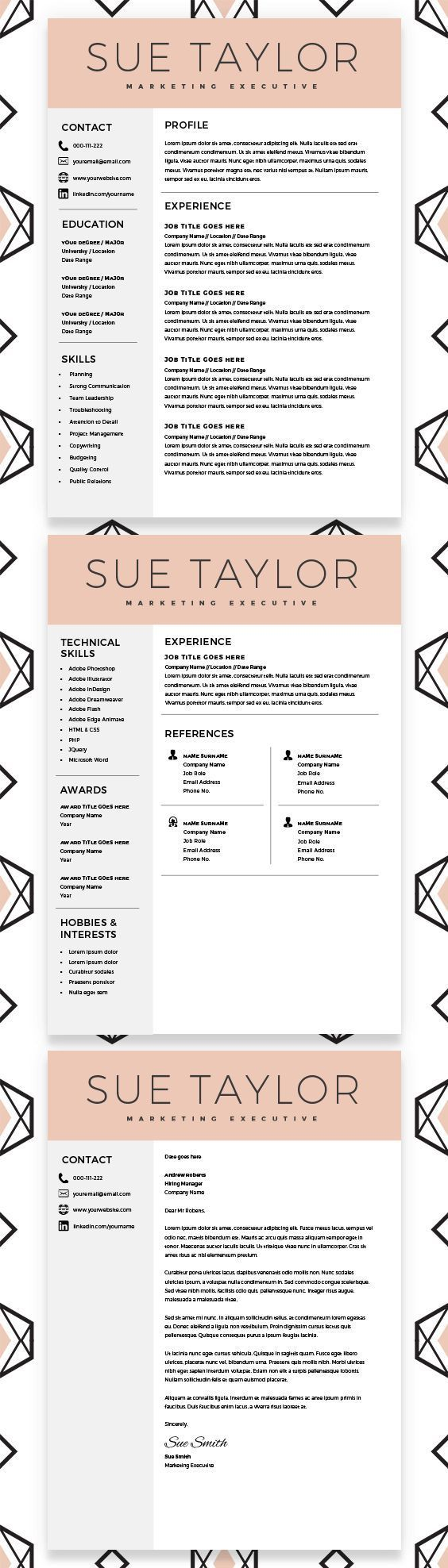 marketing executive resume  modern resume template  cv template  word resume  professional