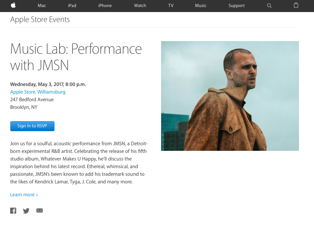 Apple Store Williamsburg event // JMSN Performance Apple