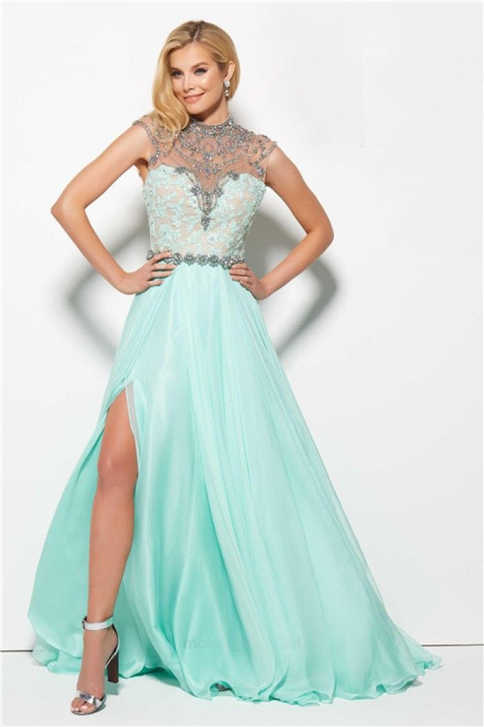 High Slit Open Back Long Mint Green Chiffon Flowing Prom Dress ...
