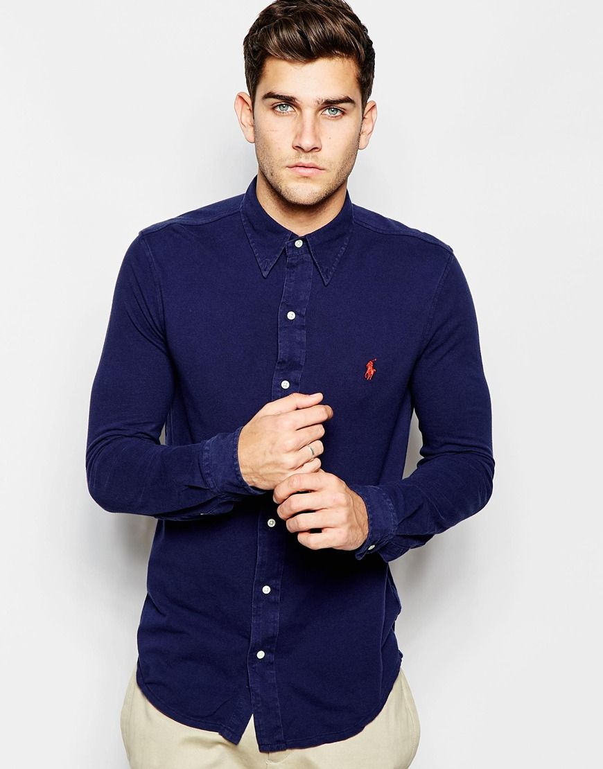 b6ce82e567d33 Image 1 of Polo Ralph Lauren Shirt in Slim Fit Cotton Pique In Navy ...