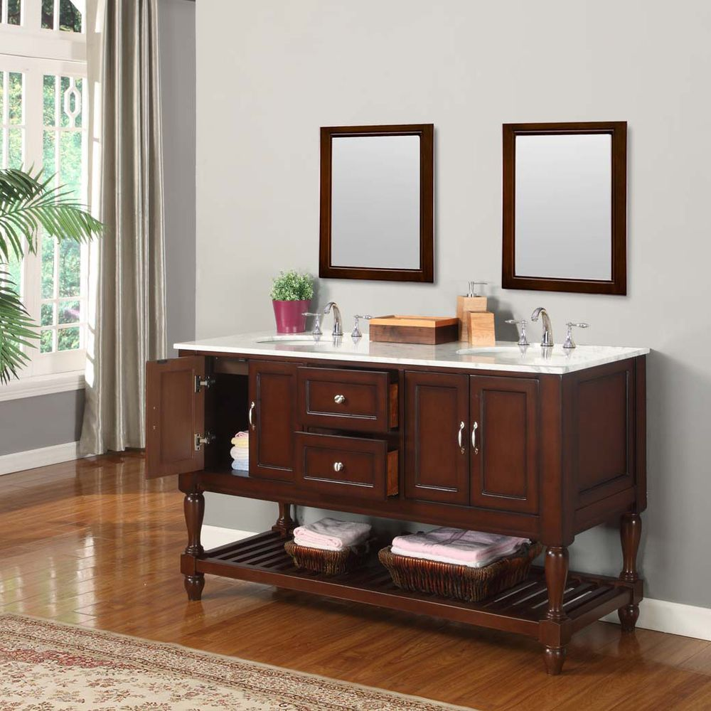 Direct Vanity Sink 60 Inch Mission Turnleg Dark Brown Double Sink