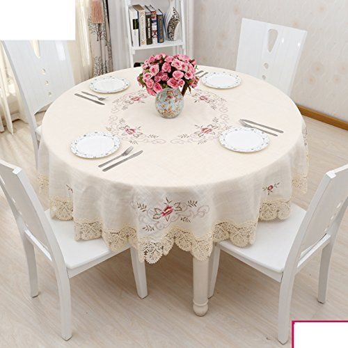 European Embroidery Cotton Fabric Tablecloth Round Table Cloth
