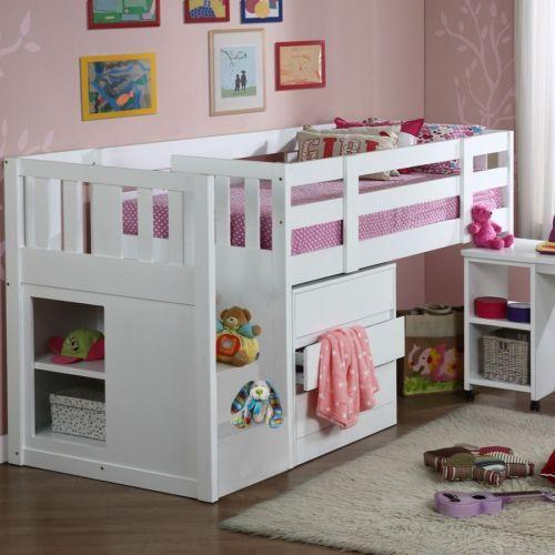 Kids Childrenu0027s Neutron Mid Sleeper Single Cabin Bunk Bed with Staircase White & Kids Childrenu0027s Neutron Mid Sleeper Single Cabin Bunk Bed with ...