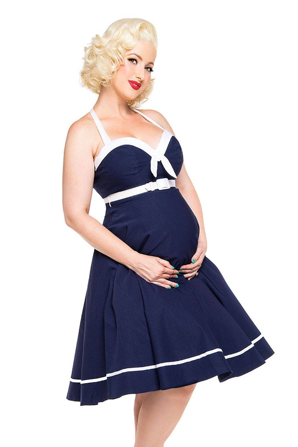 7391065c3e634 Pinup Couture- Sailor Swing Dress in Navy with White Trim - Maternity  Friendly | Pinup Girl Clothing