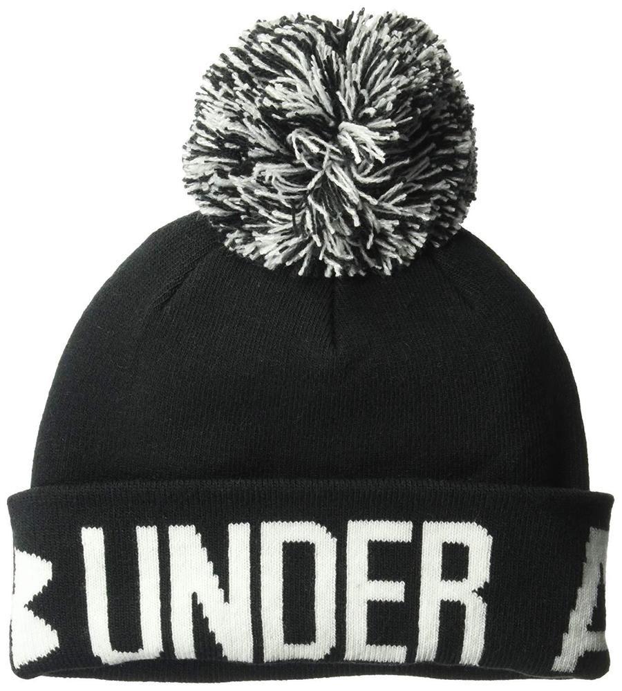 2ce52419680 Under Armour Womens ColdGear Black   White Pom Pom Knit Beanie Hat NWT   UnderArmor  Beanie  Any
