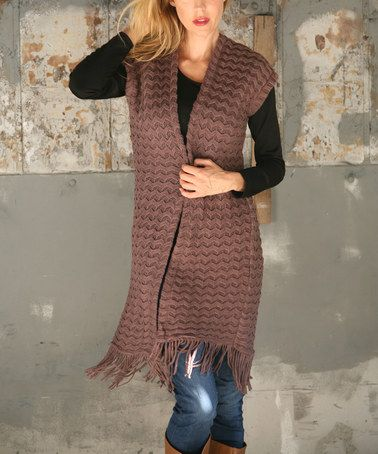 Look at this #zulilyfind! Mocha Fringe Open Vest #zulilyfinds