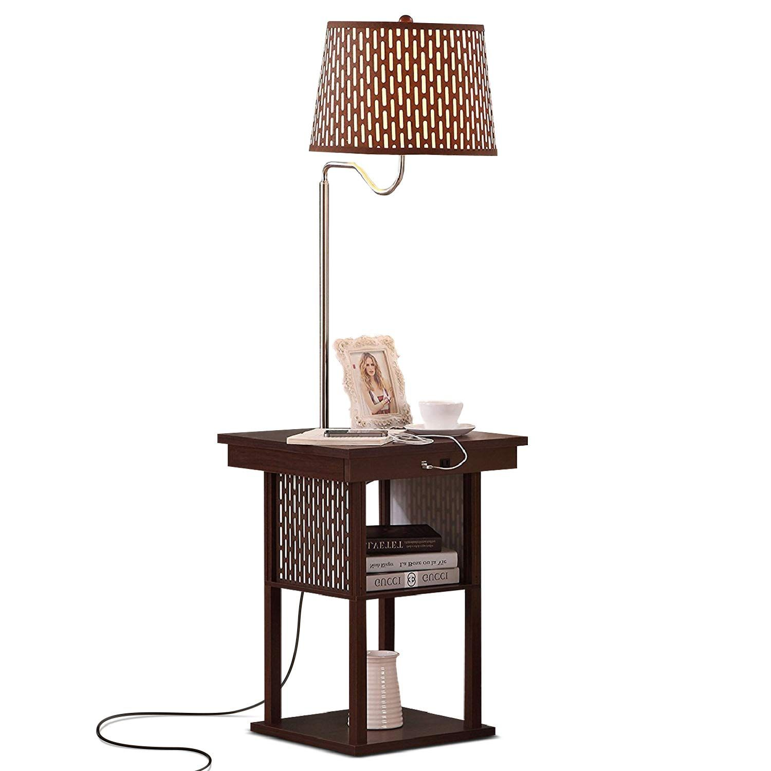 SIDE TABLE WITH BUILT IN LAMP & CHARGING CAPACITY MID
