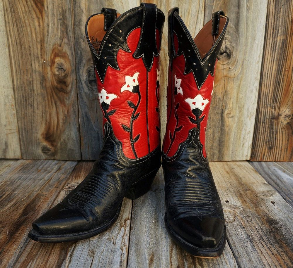 f9f1bd649fe Vintage Lucchese Cowgirl Boots, Handmade Black, Red, and White ...