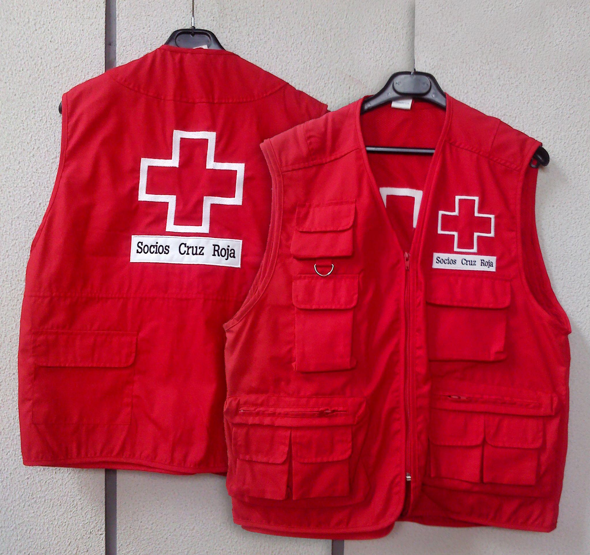 209adbe10 chalecos cruz roja - Realización de chalecos para captadores de Cruz Roja,  marcaje de logotipo bordado sobre tela.