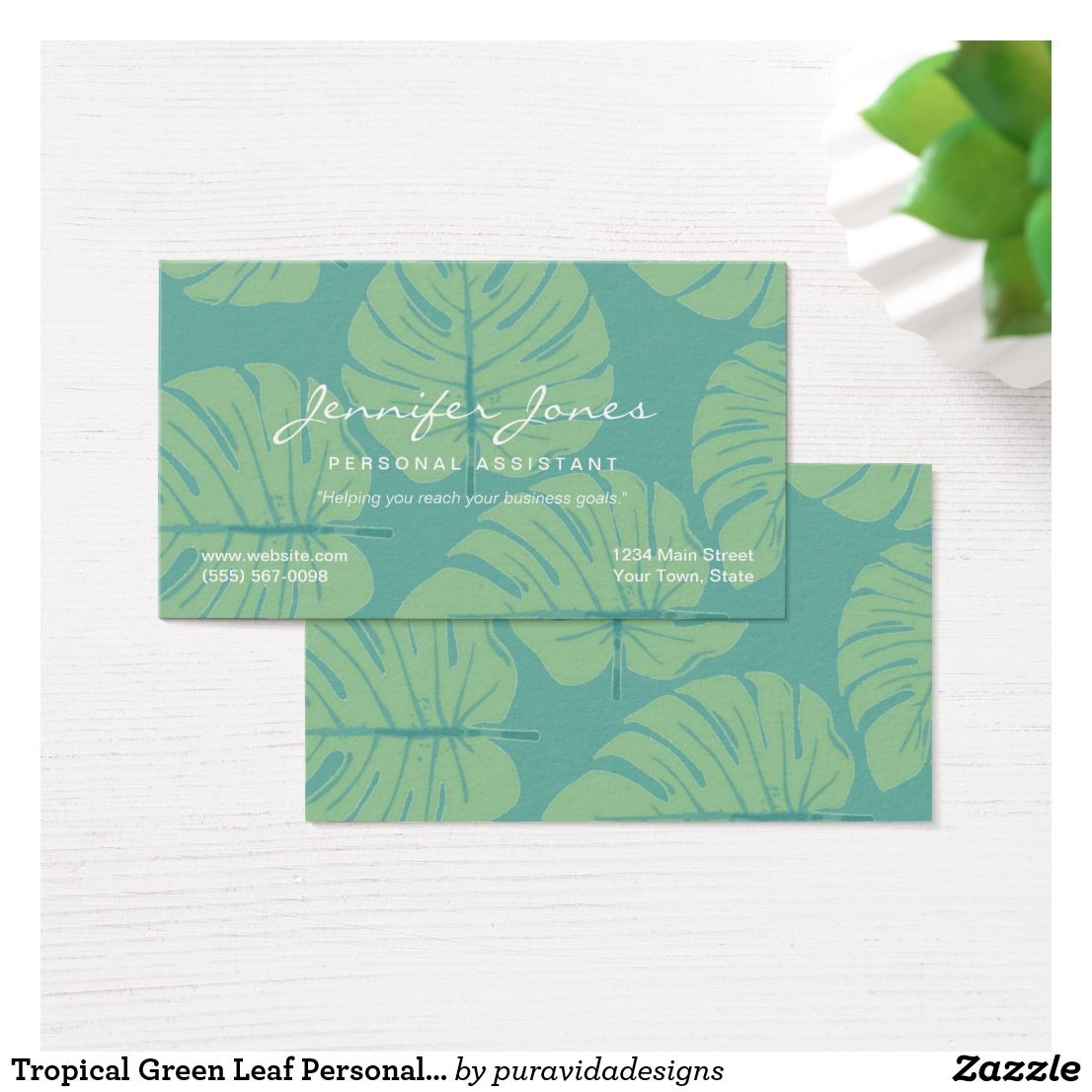 Tropical Green Leaf Personal Assistant Business Business Card ...