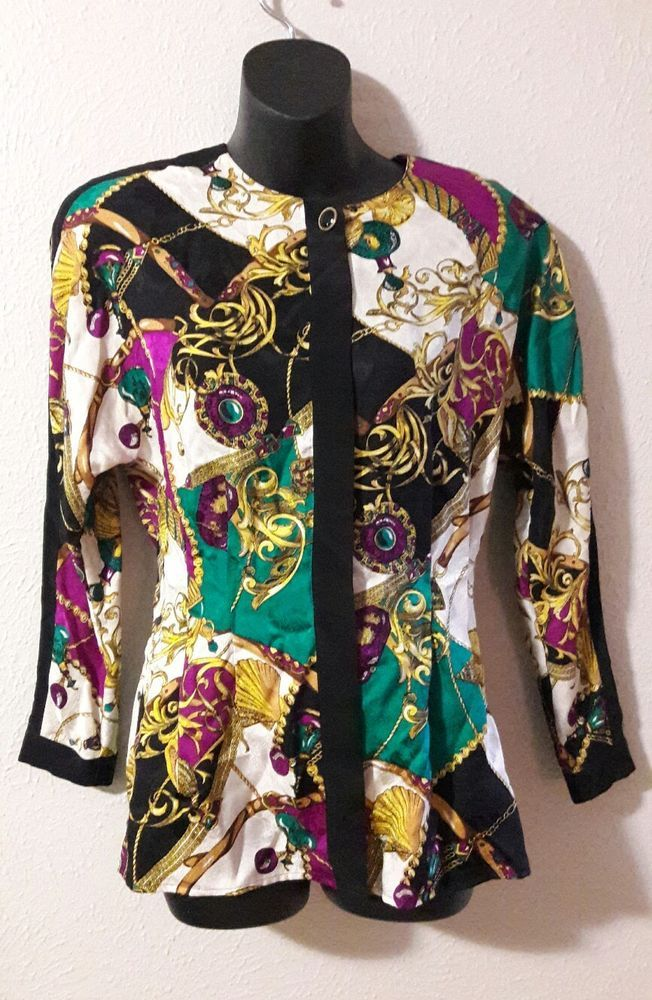 ab8f8e059a006 Adrianna Papell Vintage Silk Long Sleeve Blouse Top Gold With Chain Print