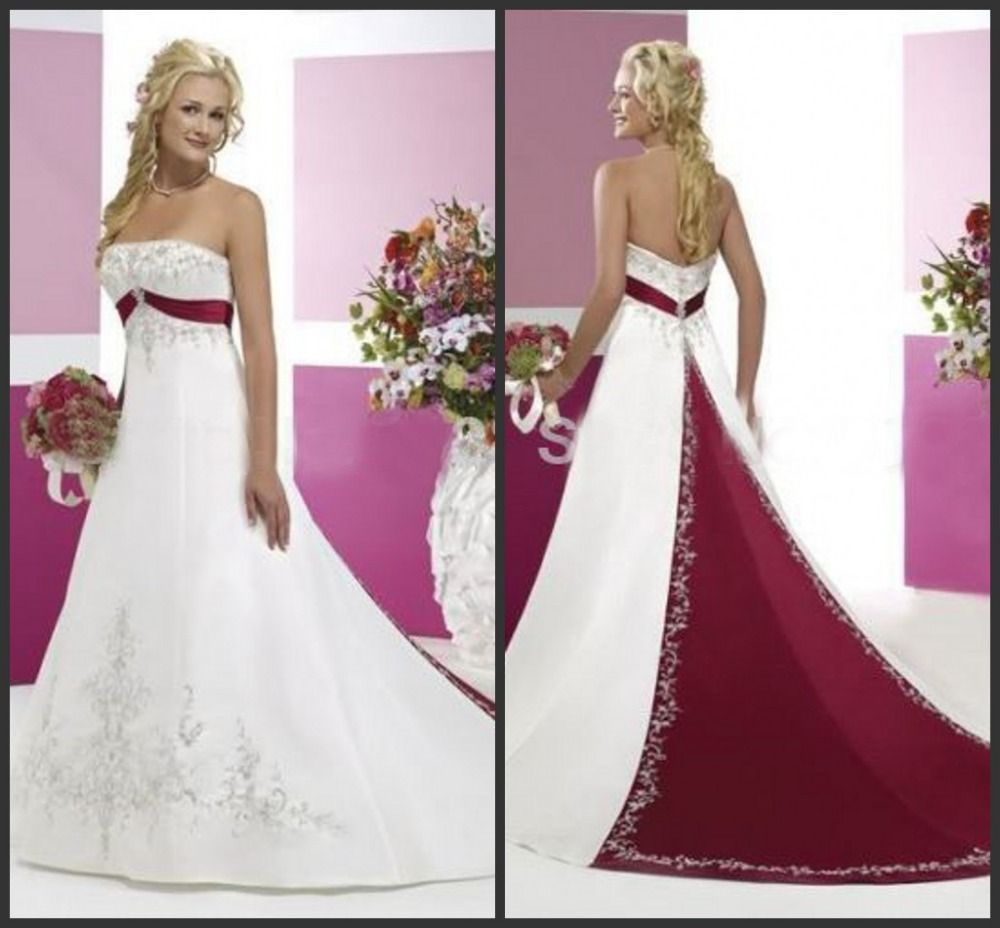 Embroideryed satin White and dark red Wedding dress Bridal gown ...