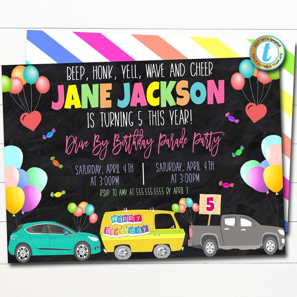 Drive By Birthday Parade Invitation Diy Editable Template In 2020 Party Invite Template Birthday Party Invitations Party Invitations