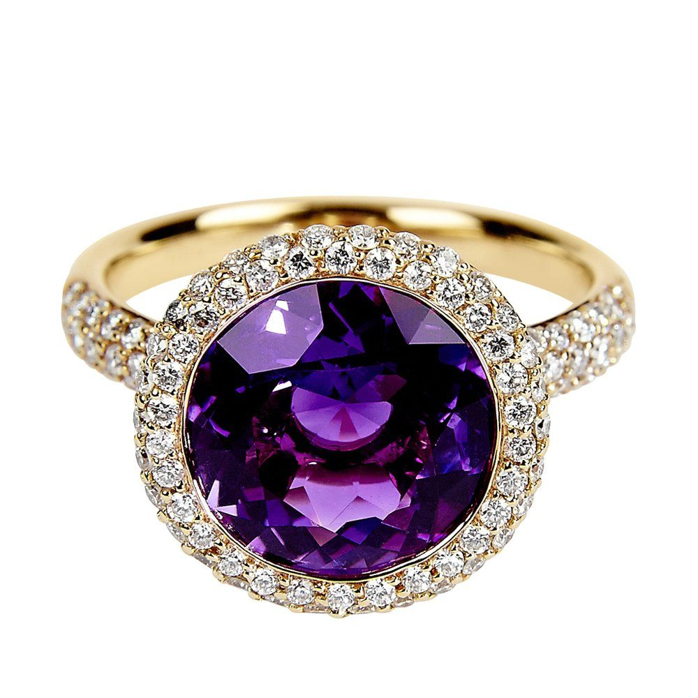 Rose Gold Round Amethyst & Diamond Dress Ring From Berry's