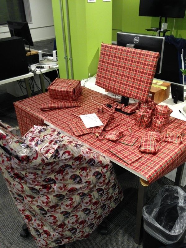 And when this unfortunate person had their desk gift-wrapped ...