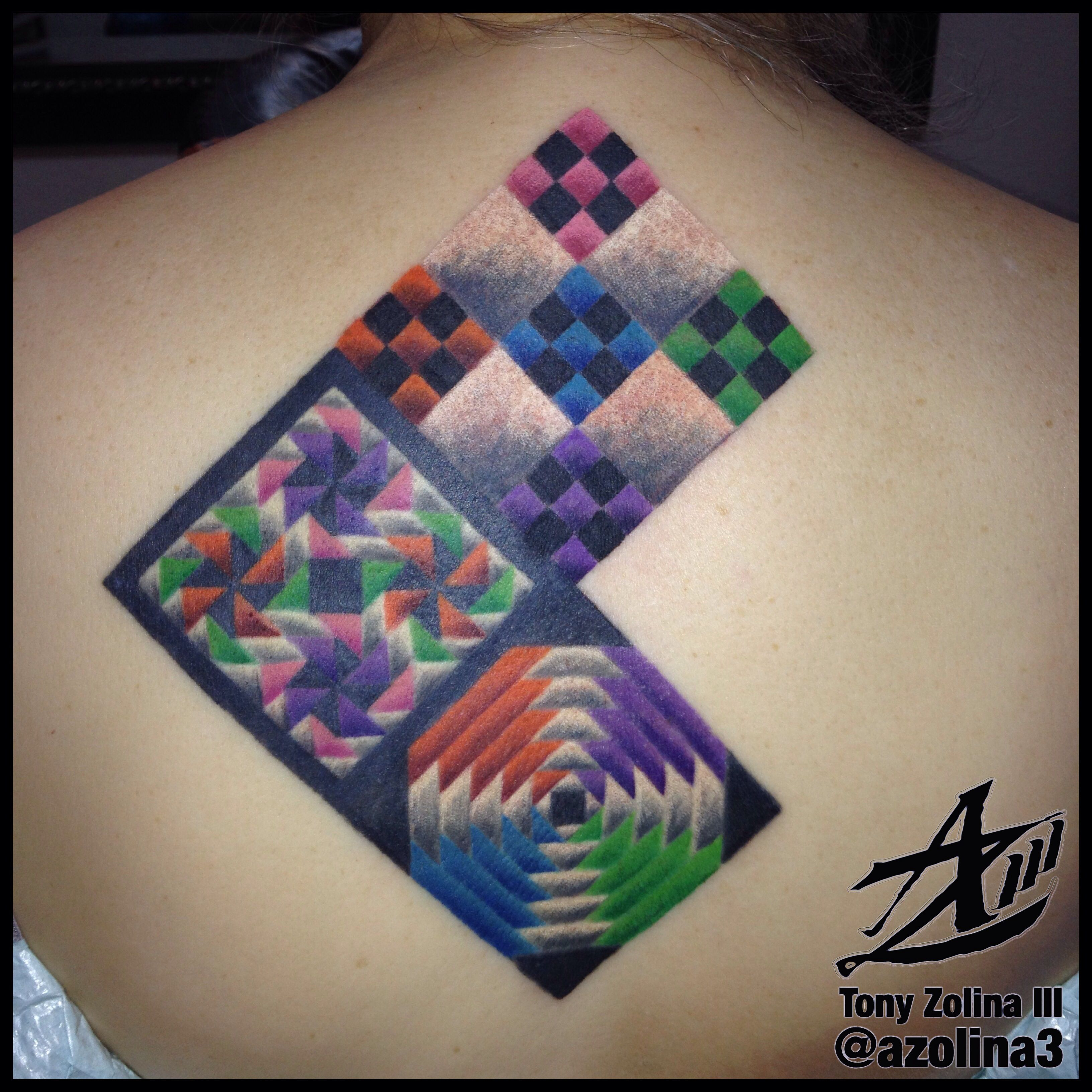 Third annual quilt square on Mel's back piece.   Aquanaut Tattoo ... : quilt square tattoo - Adamdwight.com