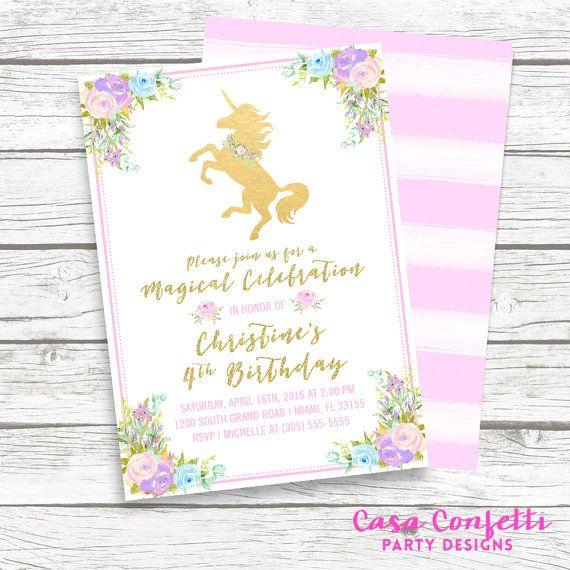 Unicorn invitation unicorn birthday invitation girl 1st first unicorn invitation unicorn birthday invitation girl 1st first birthday party invitation pastel floral stopboris Gallery