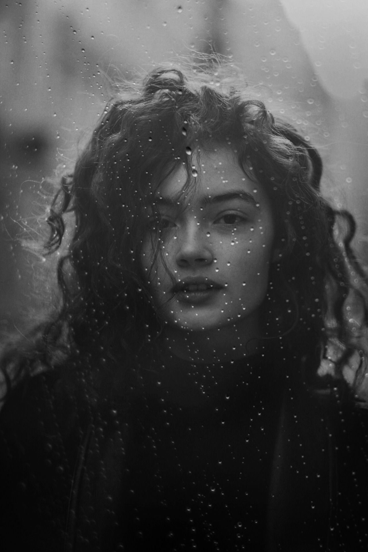 Beautiful rain spattered black and white portrait from one of my