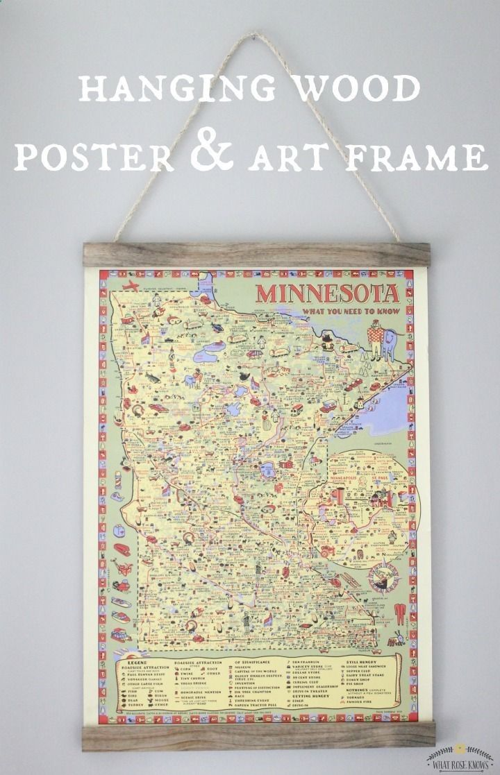 Diy hanging wood poster and art frame without