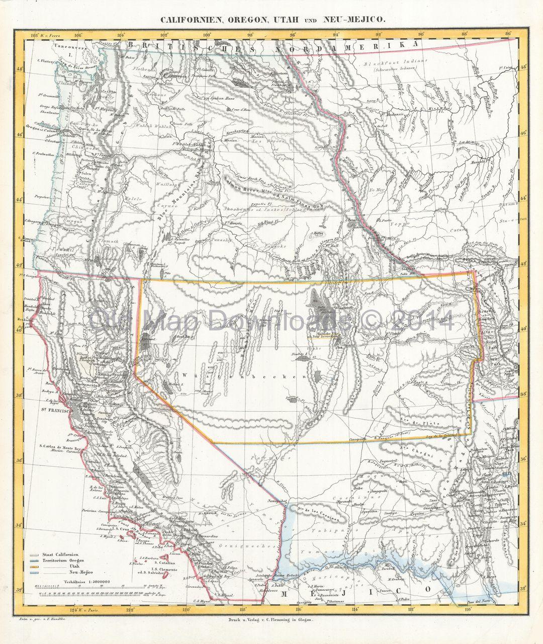 Western United States Old Map Flemming Digital Image