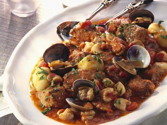 Eintopf Mit Muscheln Und Schwein Auf Portugiesisch Rezept Rezepte Muscheln Rezept Portugiesisches Essen