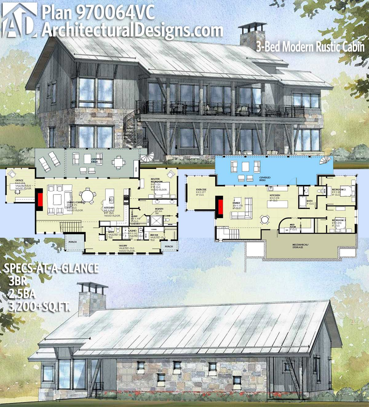 Plan 970064vc 3 Bed Modern Rustic Cabin Barn House Plans Architectural Design House Plans New House Plans