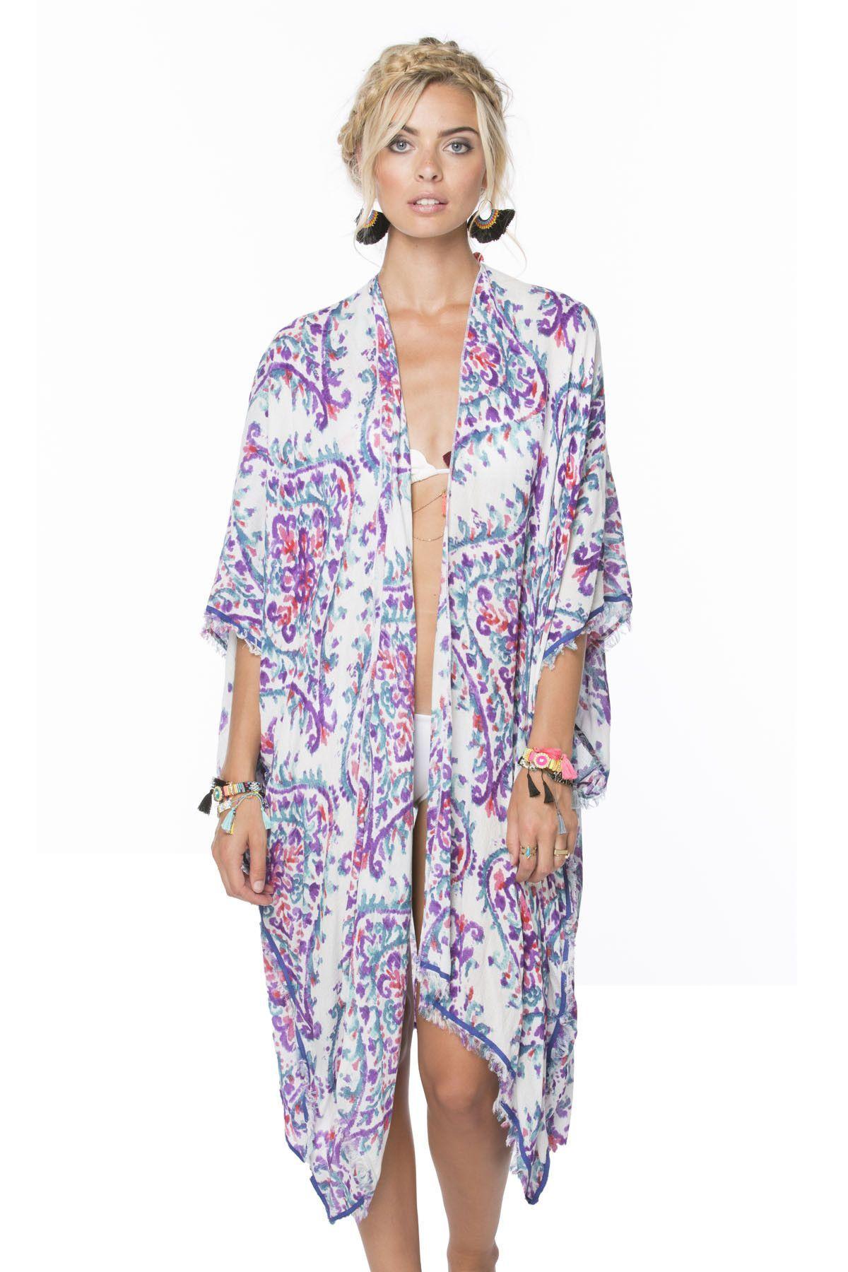 Watercolor Flourette Kimono Wrap in Berry