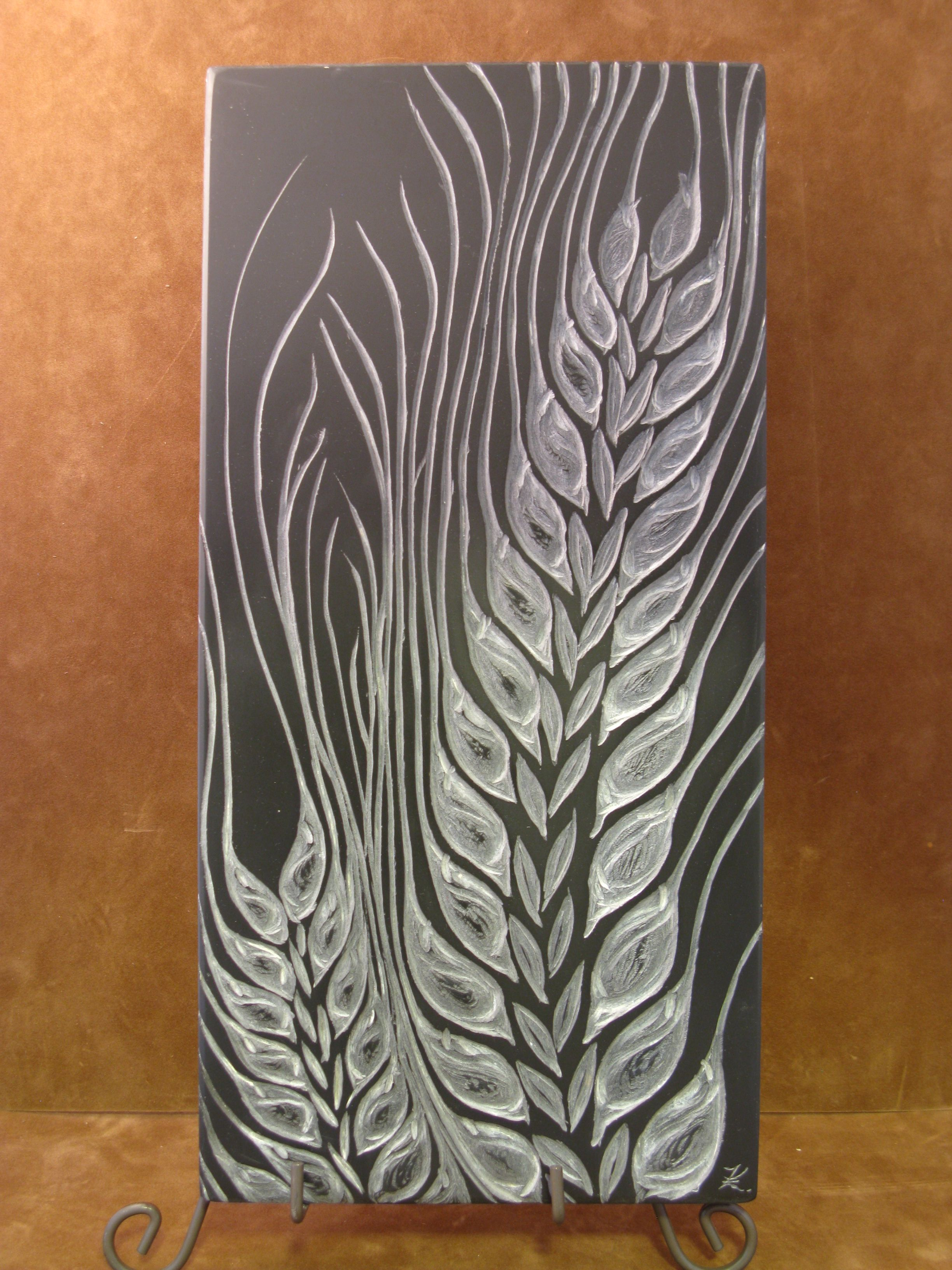 Quot Barley Quot Carved Relief Out Of Black Slate By Kathy Vinson