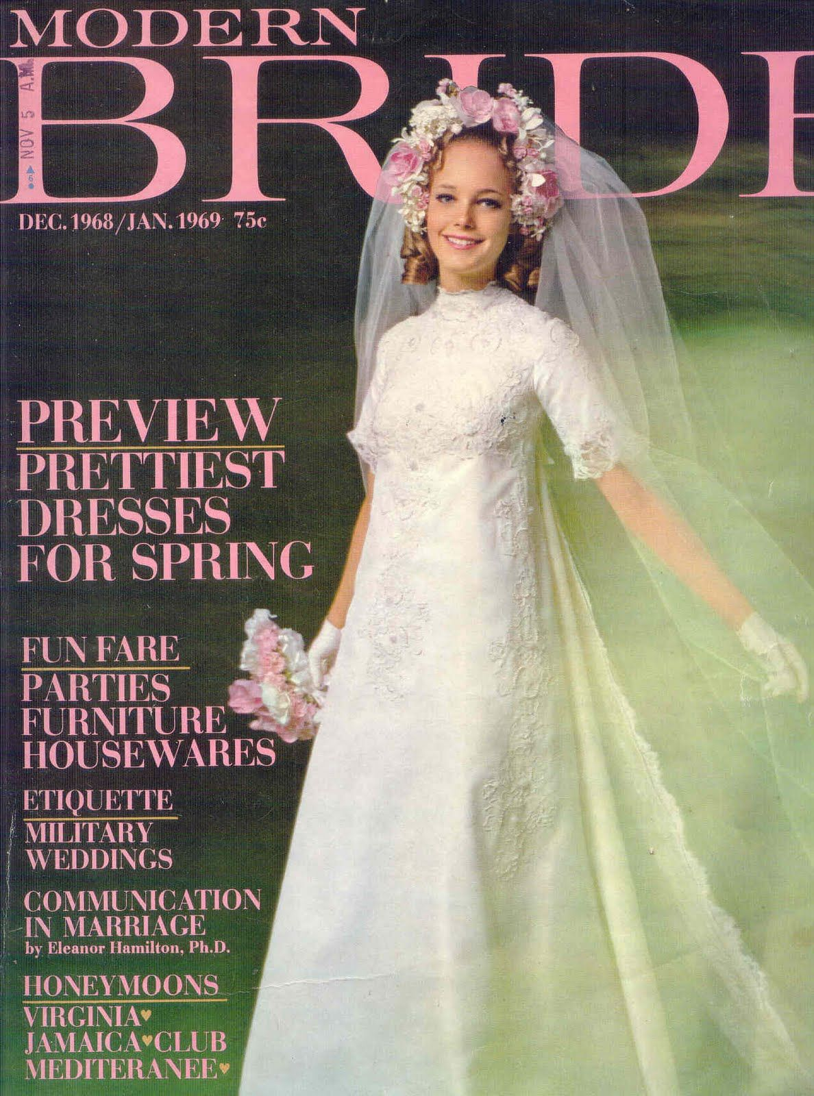 December 1968 January 1969 Modern Bride Magazine Featuring Model Lucy Angle