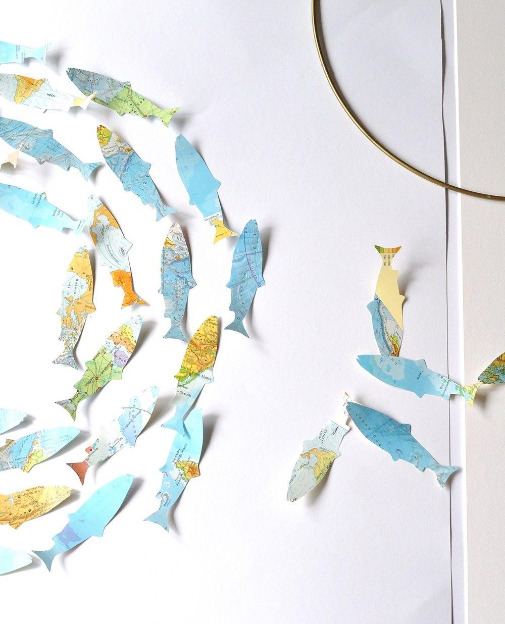 Atlas Upcycling Fisch Schwarm Aus Landkarten Fische Basteln