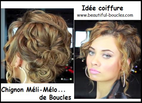 Chignon Méli Mélo de boucles, idée coiffure pour cheveux bouclés ...