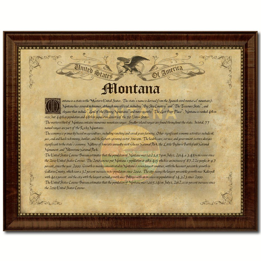 Montana Vintage History Flag Canvas Print, Picture Frame Gift Ideas ...