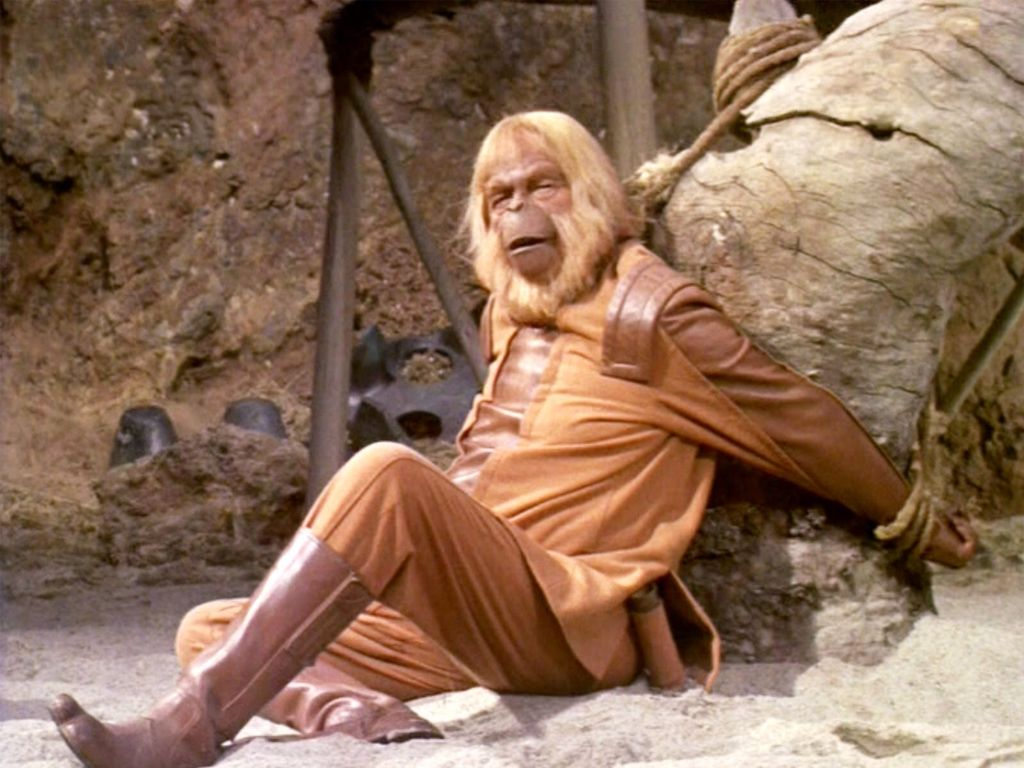 Dr Zaius Maurice Evans Is Tied Up By Taylor Charlton Heston