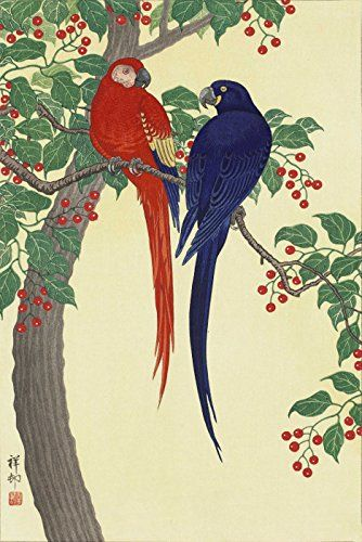 "Japanese Art Print ""Two Parrots"" by Ohara Koson. Shin Hanga and Art Reproductions http://www.amazon.com/dp/B016Z9UMC0/ref=cm_sw_r_pi_dp_Ewctwb1YHXEHD"